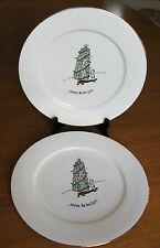 2 Merry Masterpieces Leaning Tower of Pisa Christmas Dinner Plates Dayton Hudson