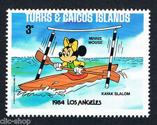 WALT DISNEY 1 FRANCOBOLLO TURKS & CAICOS ISLANDS LOS ANGELES MINNIE3c 1984 nuovo