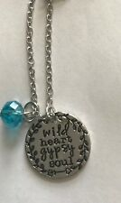 WILD HEART GYPSY SOUL Stamped Coin Crystal Gift Necklace Free Spirit New