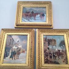 3 Oil Paintings on Board Panel de Neuville ? Franco Prussian War in Gilded Frame