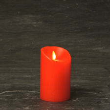 Flameless Wax LED Flickering Pillar Candles Moving Flame - Red - 8cm x 11.5cm