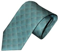 NWT BRIONI FADING TURQUOISE TONES OPTICAL OP ART BOX PATTERN 100% SILK NECK TIE