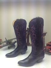 VINTAGE DISTRESSED BLACK LEATHER MADE IN USA NOCONA WESTERN DANCE BOOTS 7 B