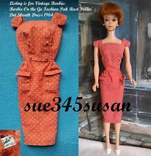Vintage Barbie Doll On The Go Fashion Pak Rust Polka Dot Sheath Dress 1964