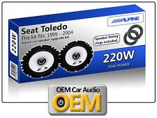 Seat Toledo Puerta Trasera Altavoz Kit de coche Alpine oradores con altavoz Adaptadores