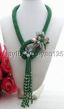 Q091605 Great! Pearl&Paua Abalone Shell&Crystal Necklace