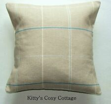 "16"" Laura Ashley 'Arden Check' Duck Egg fabric cushion cover"