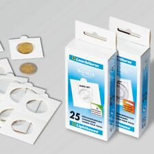 25 Étuis/Cadres cartonnés autocollants 50X50 mm, jusqu'à 20 mm Ø - Réf  332682