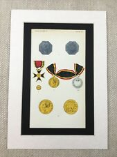 Belgian Military Medal Group Royal Order of the Crown Original Antique Print