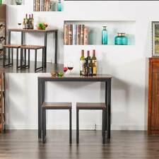 HOT 3 Color 3 Piece Counter Height Dining Set Wood Table and 2 Chair Kitchen US