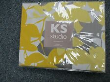 KS Studio CELINE TWIN 2 pc Duvet cover Set Yellow Gray White Floral BRAND NEW!!