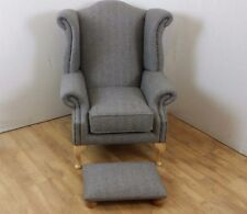 Queen Anne Style Chair in Abraham Moon 100% wool with foot stool