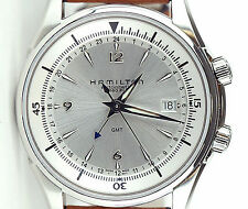 Hamilton H32625555 Jazzmaster Traveler GMT Leather Automatic Men Watch $1245 Re.