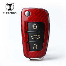 Red Carbon Fiber Remote Flip Key 3 Button Fob Case for New Audi S5 Q5 Q7 Q3 A5