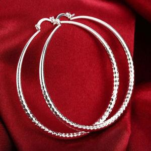 Women's eXtra-Large 925 Sterling Silver Diamond-Cut 70mm Round Hoop Earrings UK