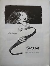 original 1954 vintage print ad WATEX WATCH CO Swiss watchmaking MID CENTURY ART