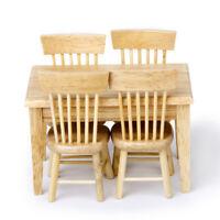 5pz 1/12 Dollhouse Miniature Tavolo Da Pranzo Sedia di Legno Mobili Set #2