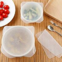 4Pcs Set Reusable Silicon Wrap Cover Lids Stretch Fresh Food Storage Kitche Top