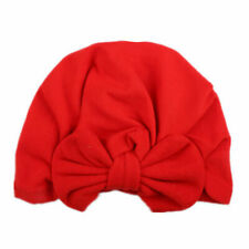 Baby Pleated Three Bowknot Soft Cotton Turban Top Knot Hat Kids Solid Beanie Cap