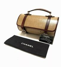 CHANEL - VTG Classic Tan Beige Brown Leather Trim Mini Barrel Doctor's Hand Bag
