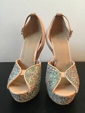 Taupe Beige Glitter Shoes Forever 21 Shiny Size 6