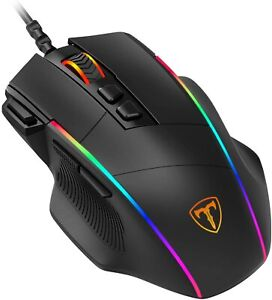 PICTEK Ergonomic Wired Gaming Mouse, 8 Programmable Buttons , 5 Levels Black