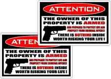 WARNING DECAL OWNER ARMED  VINYL WINDOW DECAL STICKER  / GUN  /  PISTOL set of 2