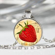 Strawberry photo Tibet silver dome Glass Cabochon Necklace chain Pendant #478