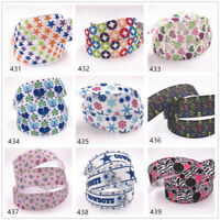 "9 colors 5/10 Yards 1""25mm Printed Grosgrain Ribbon Hair Bow Sewing"