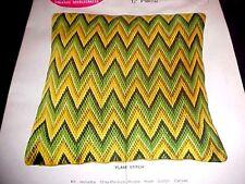 70s Bargello Needlepoint FLAME STITCH Pillow Kit WonderArt Wool tapestry