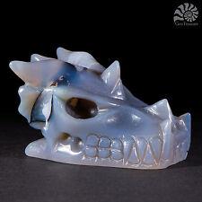 "Gemstone Crystal Dragon Skull (Agate) 2.0"" Hand Carved Reiki Chakra Healing"