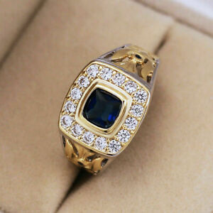 3Ct Cushion Cut Blue Sapphire Halo Classic Engagement Ring 14K Yellow Gold Over