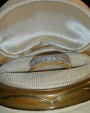 Ross Simons 18k Rose gold/sterling silver clear Topaz wedding anniversary ring