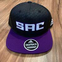 Adidas NBA Sacramento Kings SAC Black Adjustable Snapback Hat Cap New