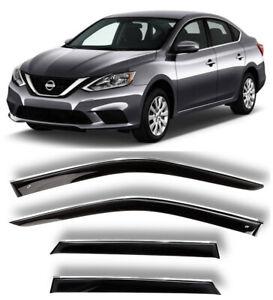 Chrome Trim Window Visors Guard Vent Deflectors For Nissan Sentra B17 2012-2019