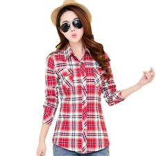 PREPPY SHIRT COLLAR LONG SLEEVE PLAID PRINT COLOR BLOCK SHIRT FOR WOMEN