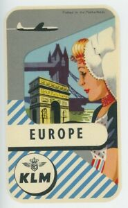 1950s KLM Royal Dutch Airlines Luggage Label Europe Vintage Travel Airplane