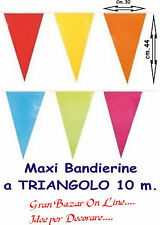 BANDIERINE MAXI TRIANGOLI MULTICOLOR STRISCIONE FESTONE 10 Metri festa party