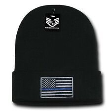 Black USA Flag TBL Patch US American Patriotic Knit Skull Beanie Beanies Cap Hat