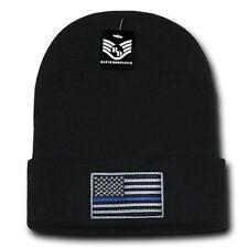 Black USA Flag TBL Patch US American Patriotic Knit Skull Beanie Beanies Cap Hat