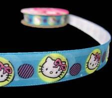 "(Last one) 4 Yds Hello Kitty Blue Purple Offray Satin Ribbon 5/8""W"