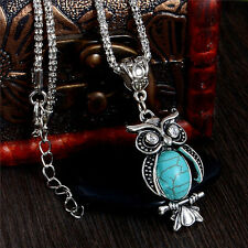 Vintage Cute Animal Owl Turquoise Stone Pendant Women Lady Necklace Silver Chain