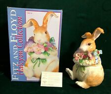 Fitz and Floyd Halcyon Collection Rabbit and Pansy Flowers Cookie Jar with Box