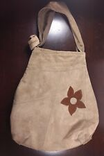 Brown Suede Leather Shoulder Bag Flower Bohemian Nature Hand Made in Poland