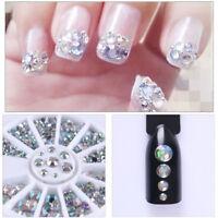 200Pcs Nail Art Rhinestones Glitter  Gems 3D Tips DIY Decoration Wheel