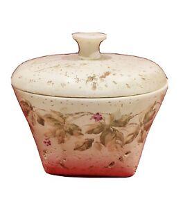 Vintage Croscill Cheri Blum Trinket Jar & Lid Beige w/Green Ivy And Grapes 🍇