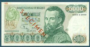 Specimen Belgium 5000 Francs Pick 137s 1971-77 Signature 1 and 8
