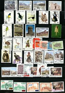 LOT 91974 COLLECTION OF SEVENTY+ USED AIR MAIL STAMPS FROM PERU
