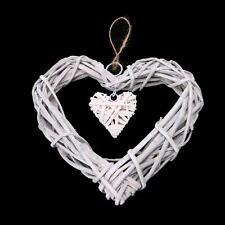 Shabby Chic Wicker Love Heart Wreath Wall Hanging Wedding Birthday Party Decor