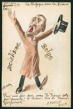 Roberty Belgium socialism Political humor caricature 1913 hand painted postcard